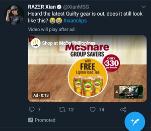 Okay, this feels a bit crazy. It's a promoted tweet (basically an ad, for what idk), but then the video in the promoted tweet has an ad! Adception!