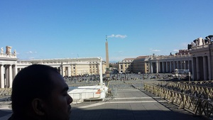 View of St. Peter's Square from the Basilica entrance.