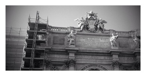 """Trevi fountain, unfortunately under renovation when we were there. This pic was """"enhanced"""" by Google+"""