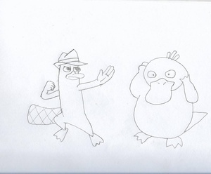 """Today's #sketchdaily theme was """"platypus"""". I think we had a stuffed platypus on display back in HS..."""
