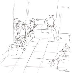 Waiting outside the doctor's clinic #sketchdaily 57/365