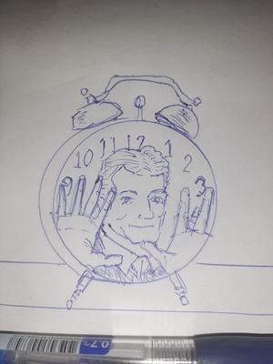 Drawing people is hard #sketchdaily 33/365 So is placing numbers on a clock face, apparently.