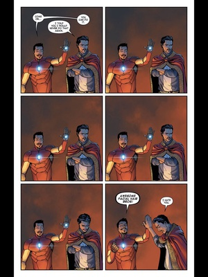 Infinity War spoiler: we didnt get this scene (yet), maybe in avengers 4 this got a bunch of likes/RTs then I realized I attached a lowres version. Here's the page from Marvel Unlimited - from Invincible Iron Man (2015) #3