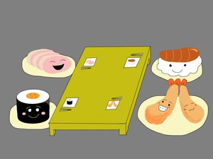 Sushi Go! #sketchdaily #sketchbookpro (note: anthropomorphized food is weird)