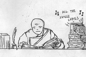 Even monks listen to the radio #sketchdaily #inktober