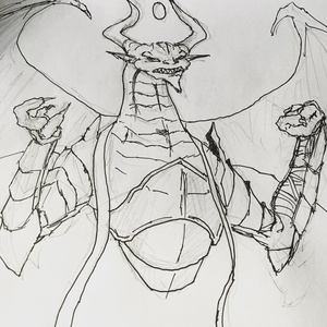 Havent done much sketching lately, but have been enjoying #mtgwar spoiler season so here's the villainous Nicol Bolas #mtg #sketch