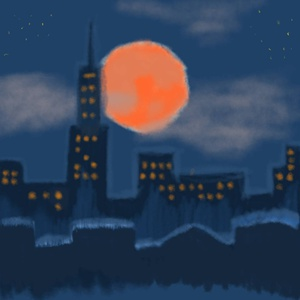 Supermoon version #sketchdaily (the other one felt really silly)