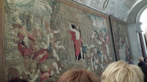 The resurrection. The eyes of Jesus in the tapestry would follow you as you walked across the room