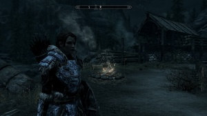 My final armor set was the Deathbrand from the Dragonborn expansion since I was trying to level up Light Armor.