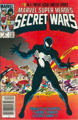 It's Spider-Man week on ireadcomicbooks! Here's the cover for Secret Wars #8 by Mike Zeck, where Spider-Man first acquired the Symbiote costume. (The actual first published appearance of the costume was in Amazing Spider-Man #252)