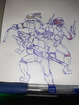 Three turtles #sketchdaily 28/365 Nobody likes Leonardo.