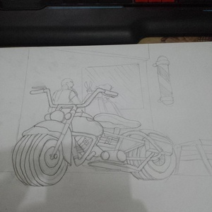 Motorcycle outside a barber shop