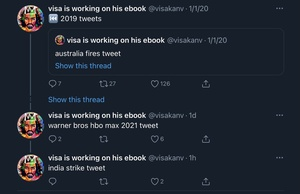 "@visakanv It kind of bothers me that the first tweet in that thread says ""2019 tweets"". I know that refers to the quoted 2019 thread, but you otherwise typically start your threads with context for the rest of the thread"