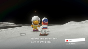 Mario doesn't need to wear a helmet on the moon, but this Koopa does