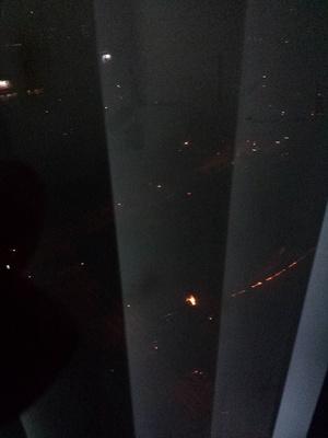 Two loud noises were heard outside tektite. The following was seen outside the window