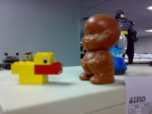 Toys on my desktop at work. Mostly LEGO! Uploaded with the Flock Browser