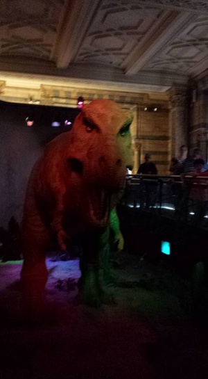 Animatronic T-Rex. It moves and roars. I was sad that they didn't have a skeleton