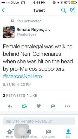 Pro-Marcos supporters are getting desperate. Why assault the paralegal ? #Marcosnohero #MarcosBurialCases