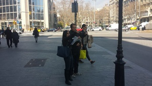 Some tourists arguing on the street