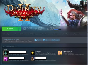 Finally finished Divinity Original Sin 2. Not sure if I should do a review since due to character choices and party comp, I feel like I've only scratched the surface of the content, and it might take a couple more runs to alleviate that. But it's a great turn-based RPG!