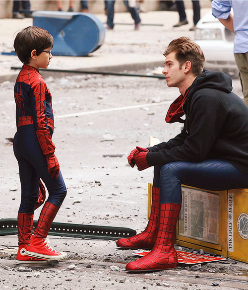 "uncannybrettwhite: pizza-party: TASM2 set, May 26 Back when I was a chubby, weird, nerdy kid who was very worried that I'd always and forever be that gigantic, that awkward, and that trapped in my own weirdness, I used to think ""Well, Peter Parker used to be this nerd who everyone picked on and no one understood, then he became this cool hero with a fun job who married this beautiful model who loved him."" And then I'd think, ""It won't be this bad forever."" This picture reminded me of that. Haven't thought about that kid in a long time. If"