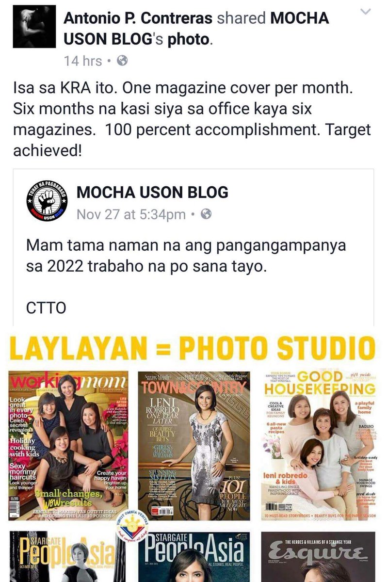 Mocha Uson posted more lies about VP Leni. Contreras shared it naman with inputs pa. Mga loko talaga eh.