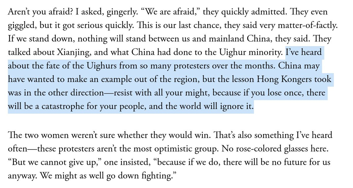 "Hong Kong protests are in their fifth month despite an escalating crackdown. How? One surprising answer: the fate of China's Uyghurs. Many talked to me about it. They watched and learned. They've decided that they ""may as well go down fighting."" My latest. https://www.theatlantic.com/international/archive/2019/11/escalating-violence-hong-kong-protests/601804/"