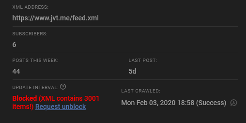 @JamieTanna Hello! Not sure if you're aware, but Inoreader dislikes your RSS feed apparently for having too many items.