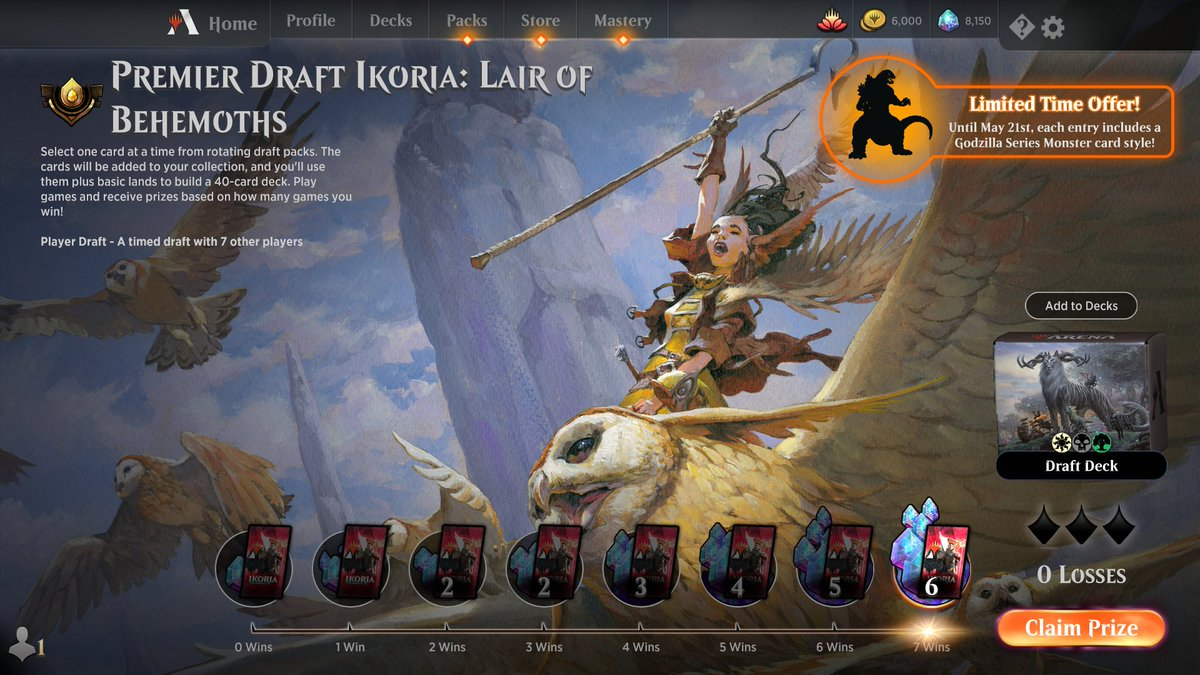 Ikoria draft no. 9 https://www.twitch.tv/twitchyroy #mtg #magicarena #mtgiko #twitch 7 and 0! Best Ikoria draft so far! I even won one game where I was stuck on one color for the first 6 or 7 turns! Youtube: https://www.youtube.com/watch?v=9_7Cm7QxbD0
