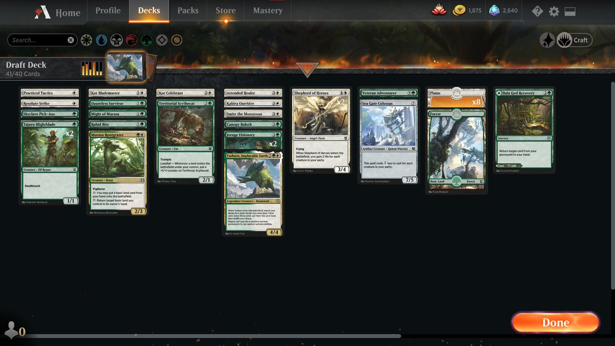 Zendikar Rising draft! ep1 https://www.twitch.tv/twitchyroy #mtg #magicarena #twitch #mtgzkn So I managed to play one game (and lost) before server-related issues. Will continue later, but here's my draft deck I managed to play 2 drafts during this episode: https://www.youtube.com/watch?v=N2rcdcJSloo Unfortunately (spoiler!) I performed very poorly D: Have to figure out what I'm doing wrong (aside from the obvious misplays), feel free to give feedback! 2nd draft deck (BG):