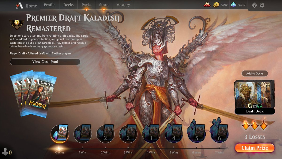 Streaming some more Kaladesh Remastered draft (ep 2) https://www.twitch.tv/twitchyroy #mtg #magicarena #twitch #mtgkld Unfortunately, internet was too poor again tonight for streaming :( Ok, I went ahead and did two drafts which was a terrible idea because I did very poorly both times. (Didn't bother getting a screenshot of the second result, they were the same!) Sigh, this format is tough. Hopefully I figure it out by next time.