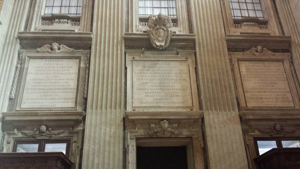 Inscriptions over the entrance to St. Peter's Basilica