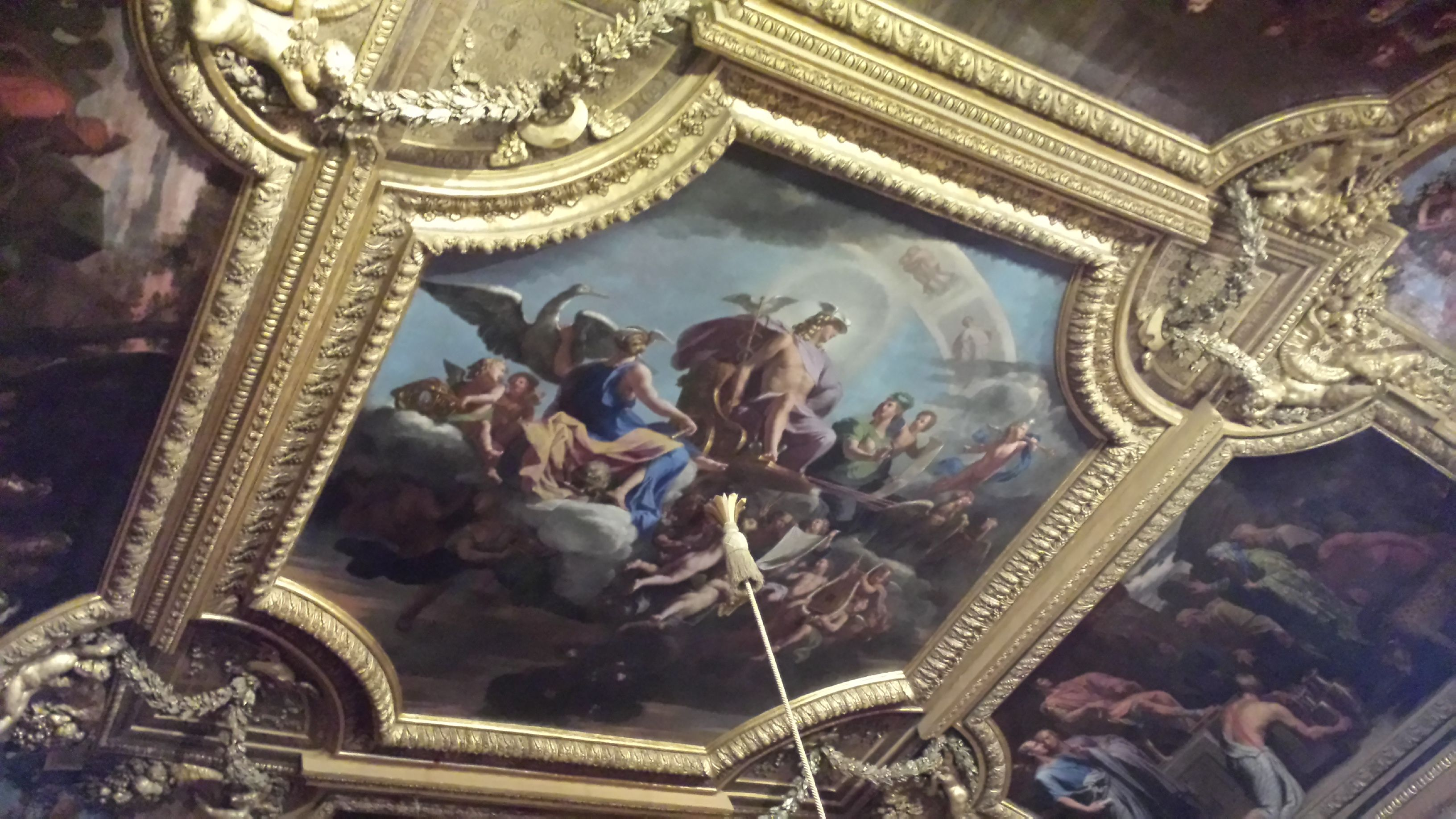 There's a series of rooms with detailed paintings of Greek myths which left me looking up all the time. I think this Apollo one was my favorite