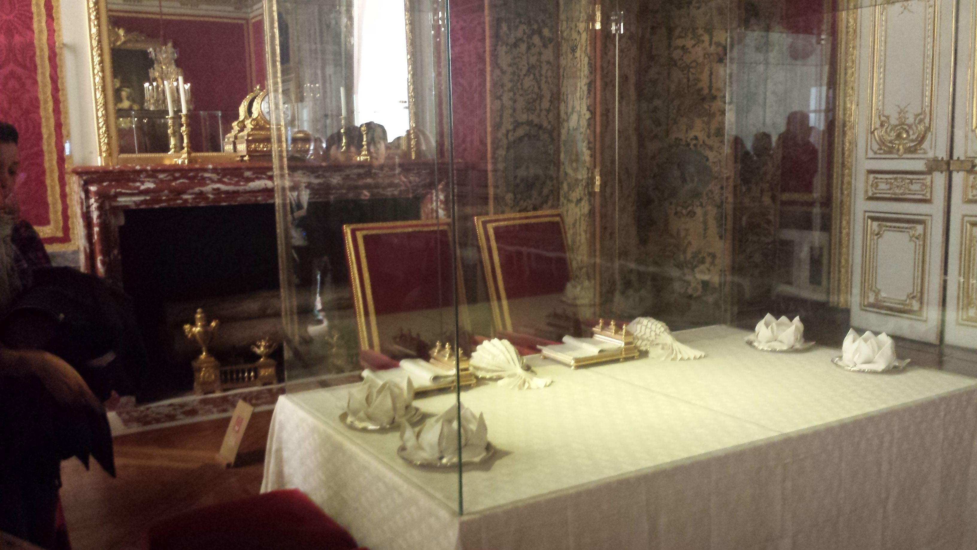 There's a series of rooms where normal people could get a glimpse of the king and queen's daily lives, including their bedrooms and this dining room