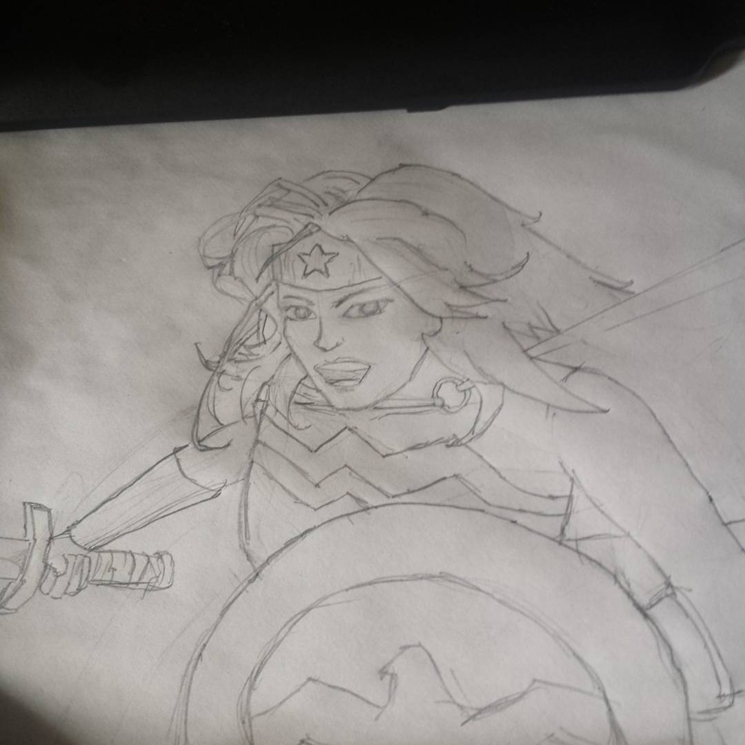 Diana of Themyscira #sketchdaily I think I had a lot of trouble because I didnt allocate enough space for the neck and shoulders