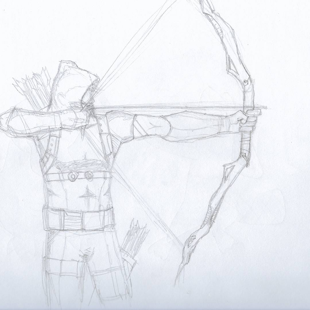 Arrow #sketchdaily the pose is based on David Aja's Hawkeye cover