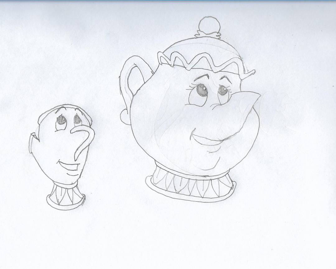 More Disney today #sketchdaily I haven't seen this movie but I imagine I'd be bothered that the teapot's handle is on the back while the cup's handle is a nose