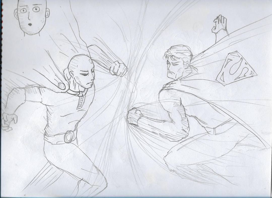 Superman vs Caped Baldy #sketchdaily #onepunchman