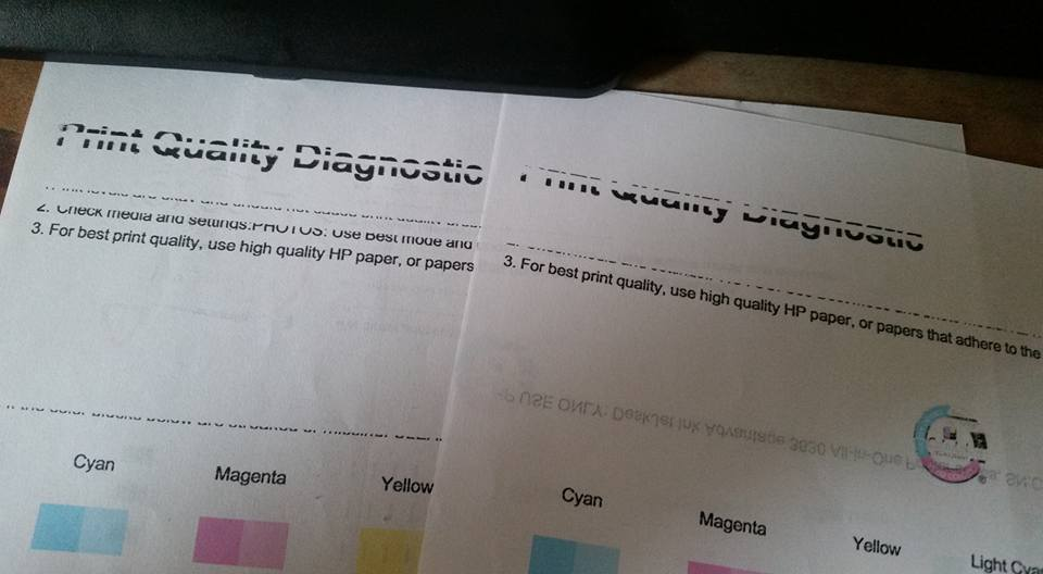 People with HP printers: I need some advice. There's a problem with the black ink cartridge (see image), color seems fine. Madami pa naman ung ink. I tried align and also clean ink cartridges from the HP software ganun pa din. I also tried taking out the cartridge and manually cleaning near the nozzle (may instructions sa support page) What else can I do? Kaka two months pa lang nun printer :( Edit: Daming typo :p