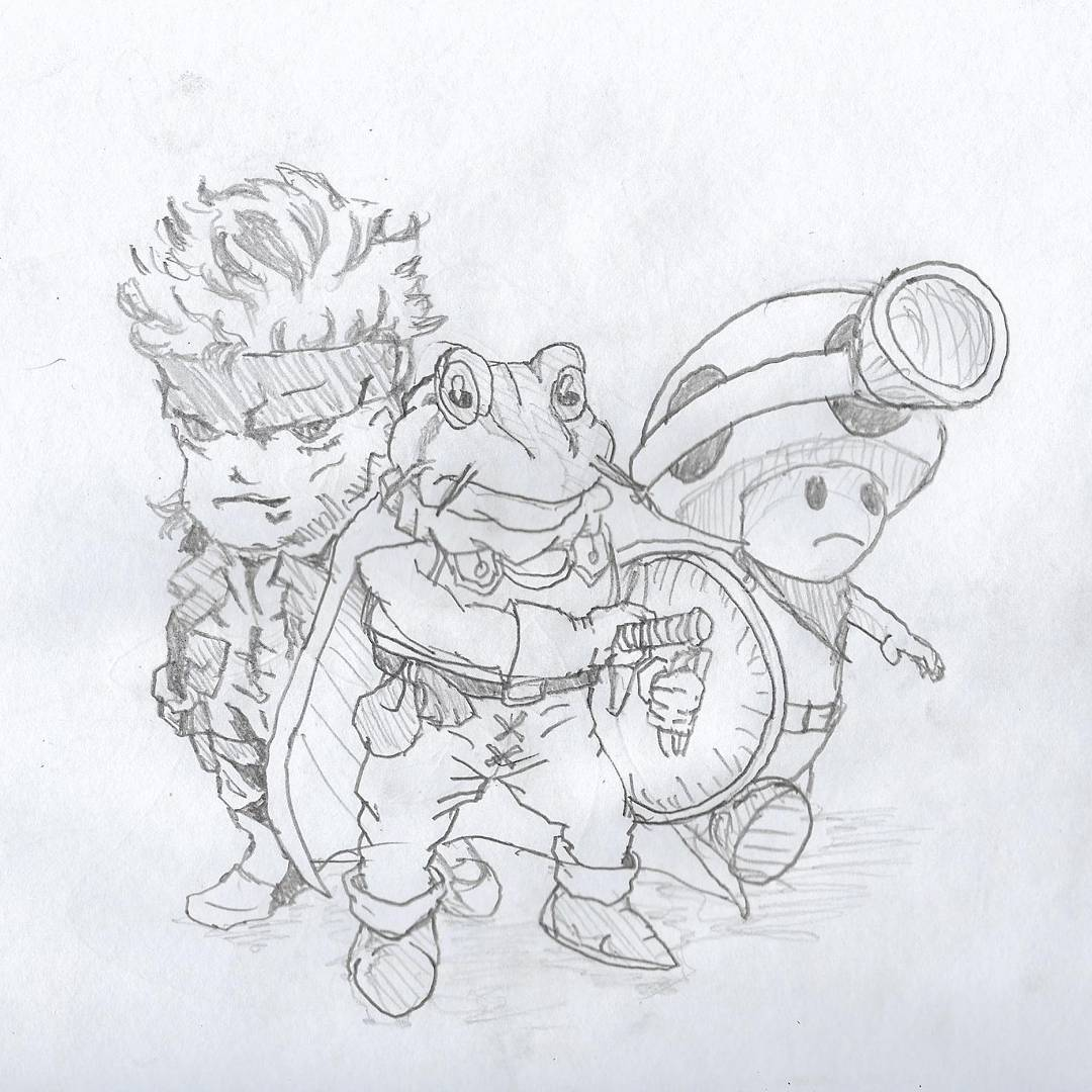 Snake, Frog, Toad #sketchdaily #metalgear #chronotrigger #nintendo