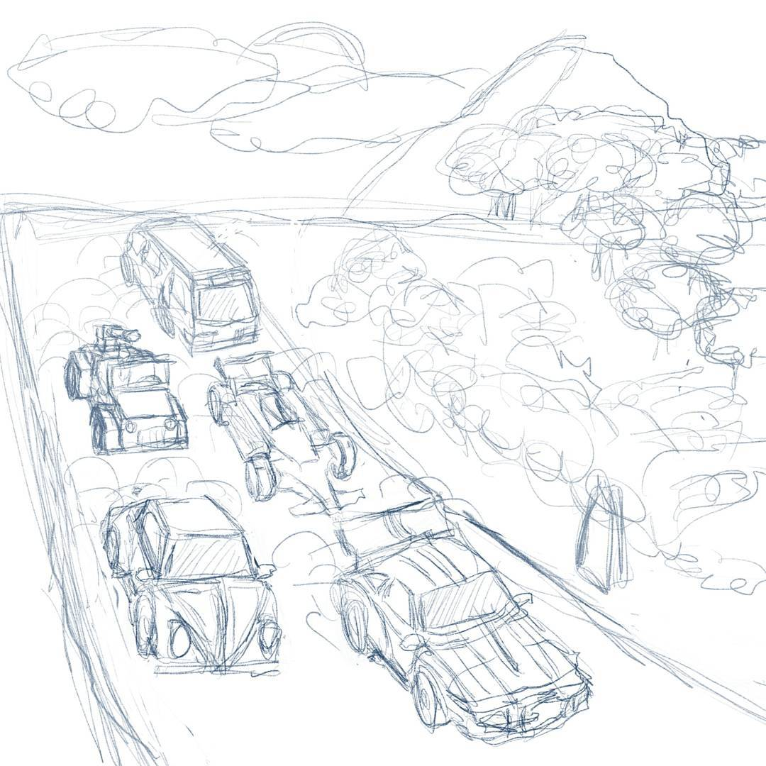 A convoy of perfectly normal earth cars #sketchdaily #transformers
