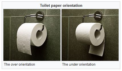 Survey: Do you think toilet paper rolls should be placed over or under? For reference: