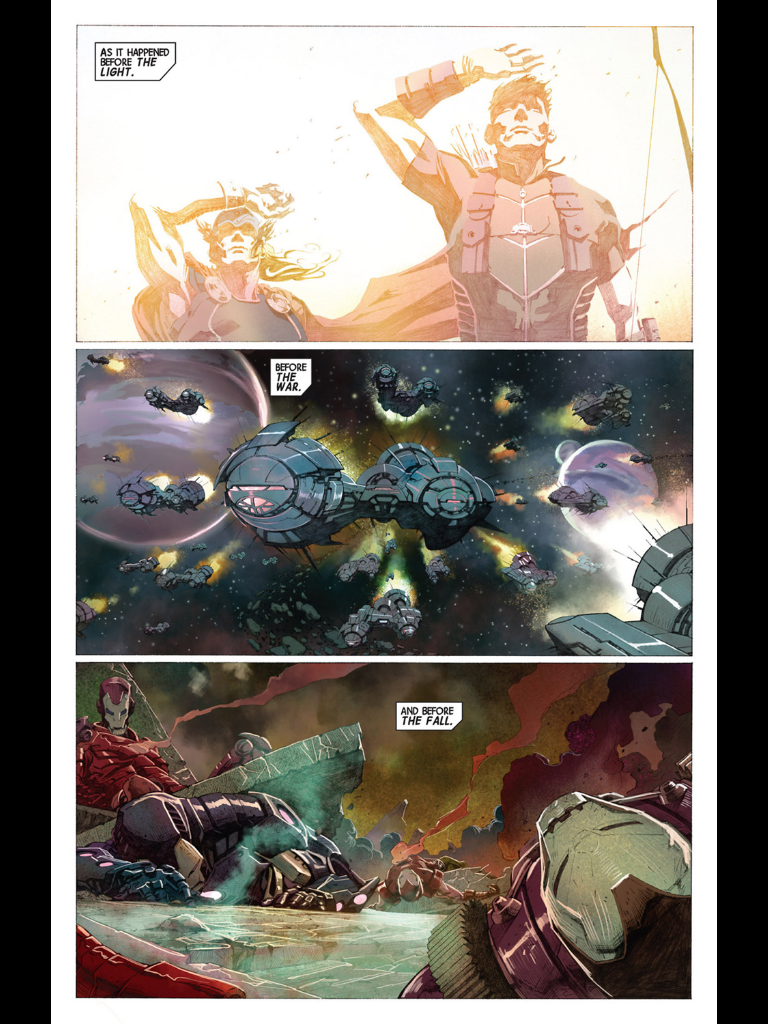 Opening page to Avengers (2012) #1 by Jonathan Hickman and Jerome Opena. I'm a big fan of both this run and Opena's art