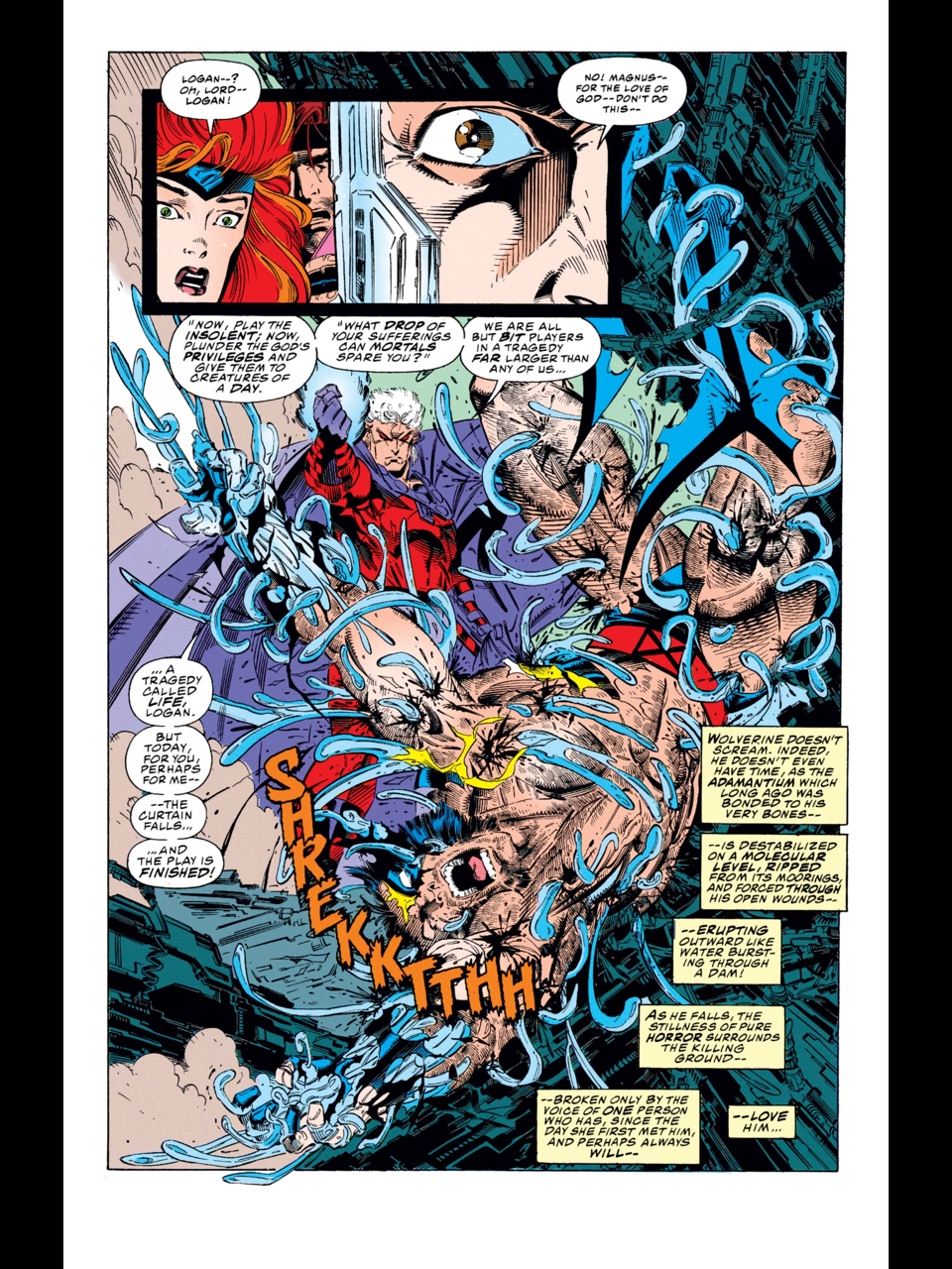 X-Men (1991) #25 by Fabian Nicieza and Andy Kubert. Magneto removes Wolverine's adamantium