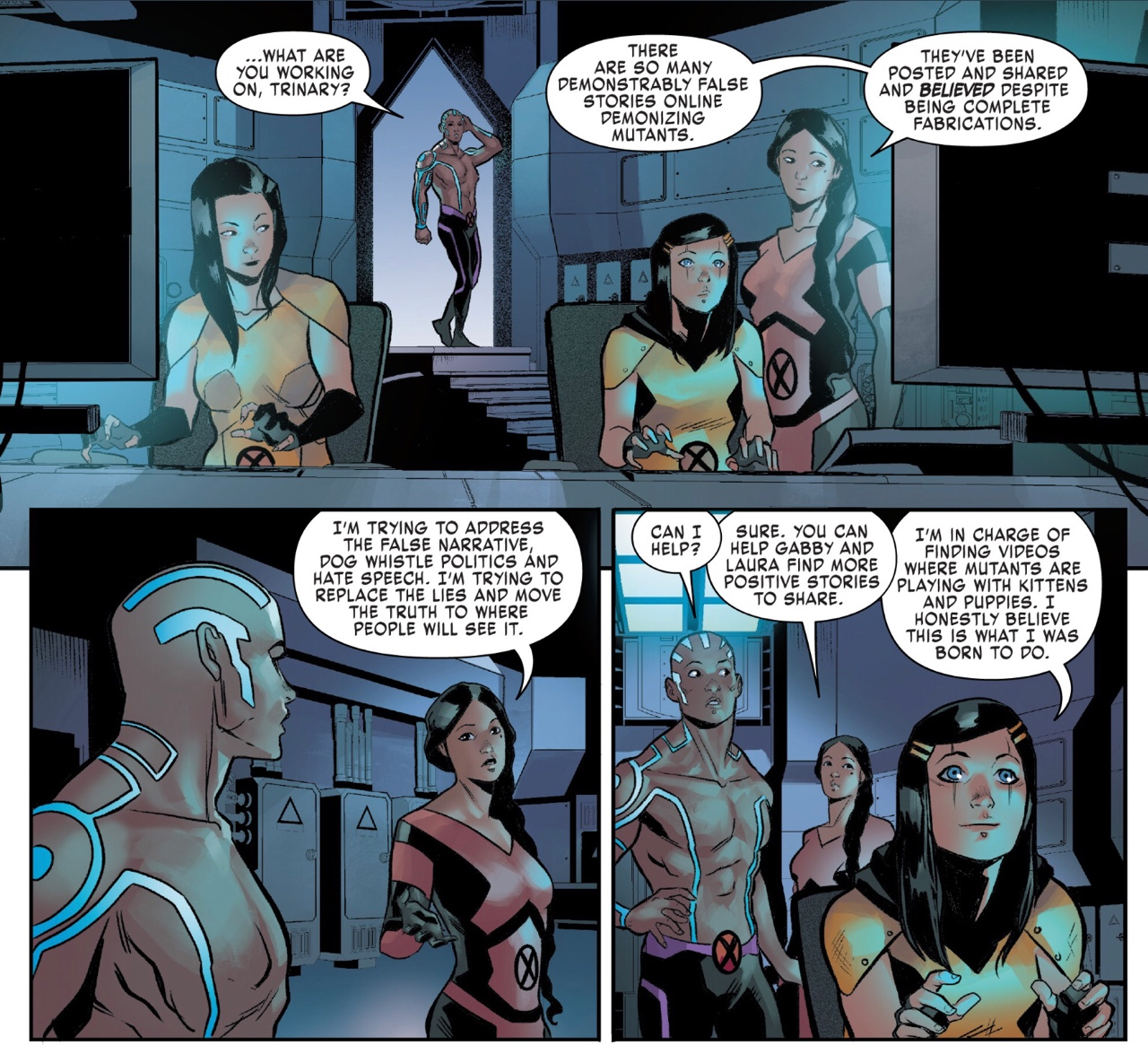 The X-Men fight fake news and also search for cat videos X-Men Red #9 by Tom Taylor and Roge Antonio