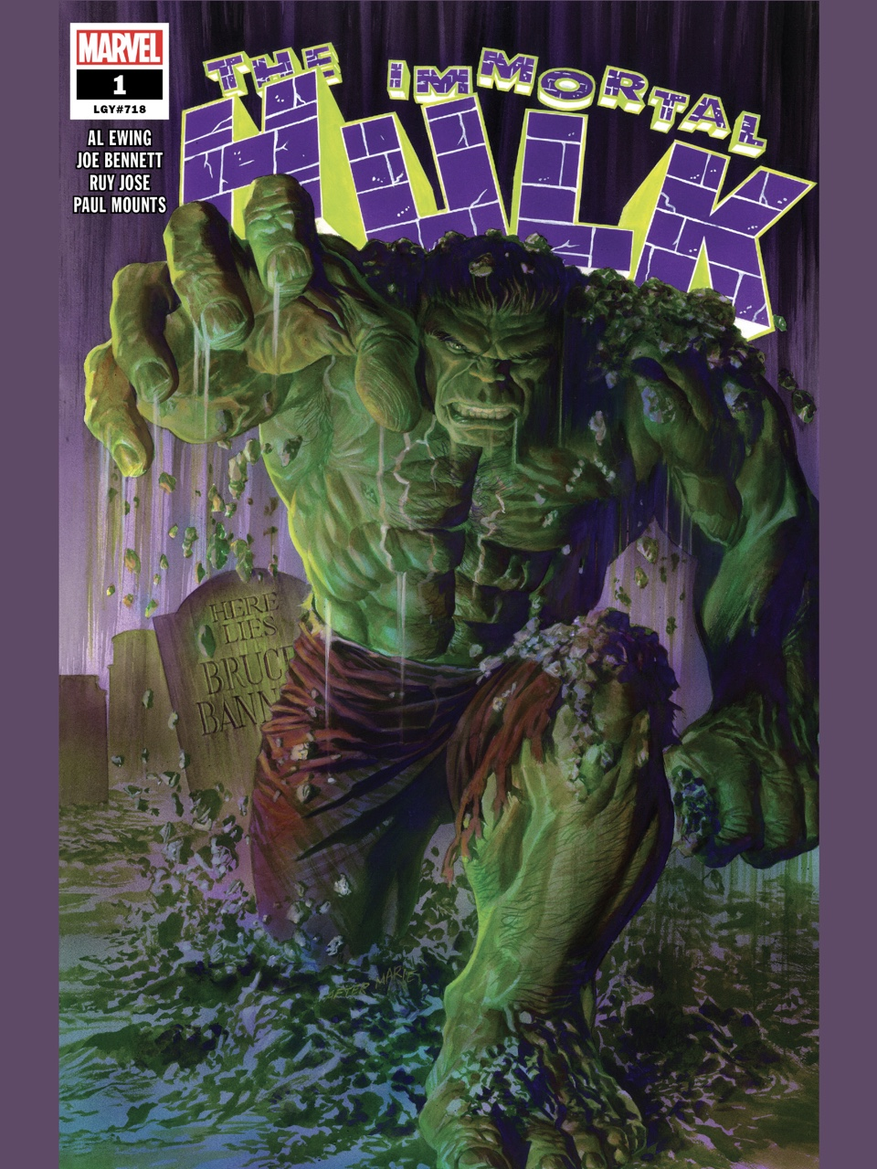 Immortal Hulk #1 cover by Alex Ross