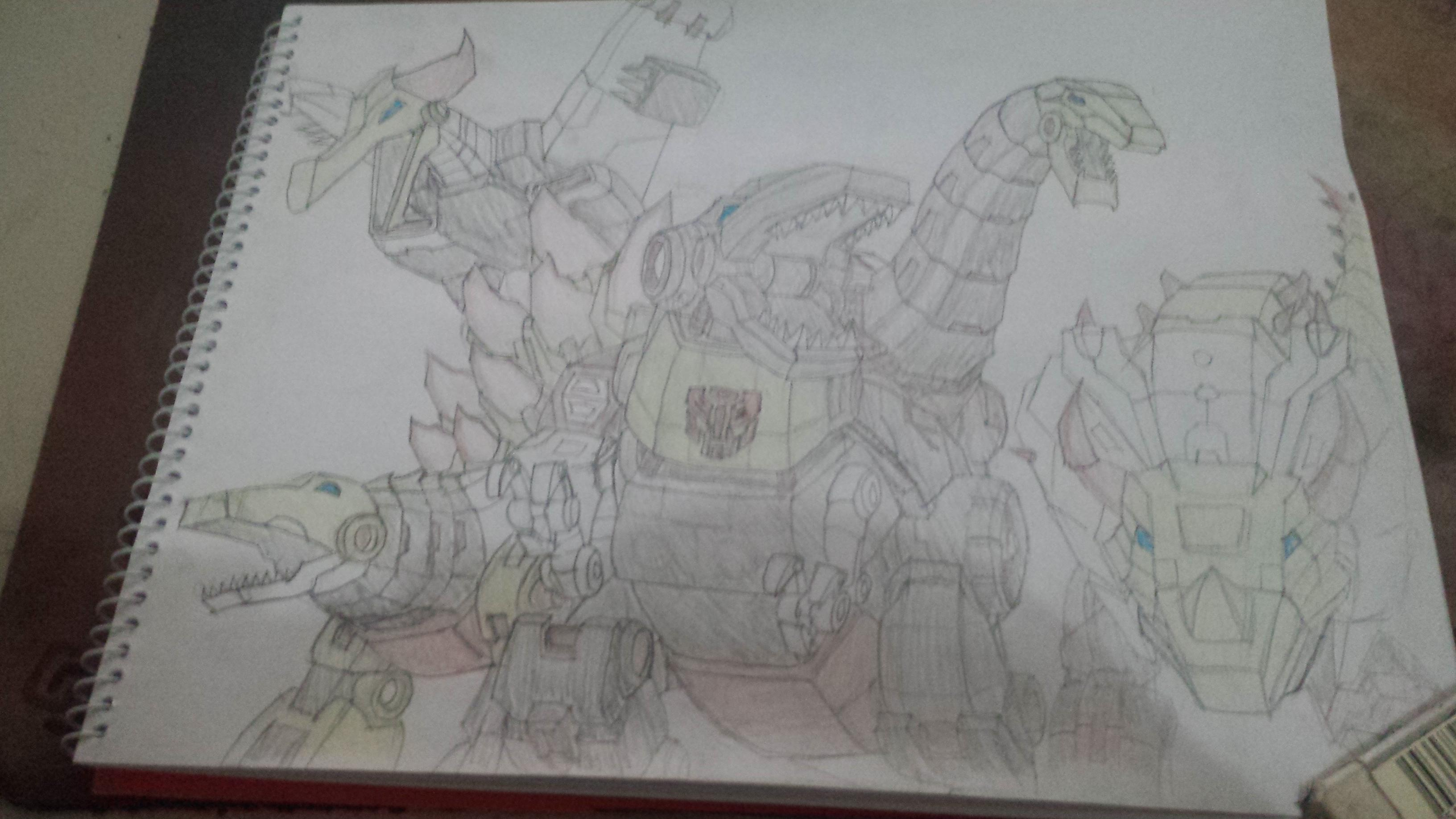Posted on r/transformers: Dinobots pencil sketch I did a couple of years back