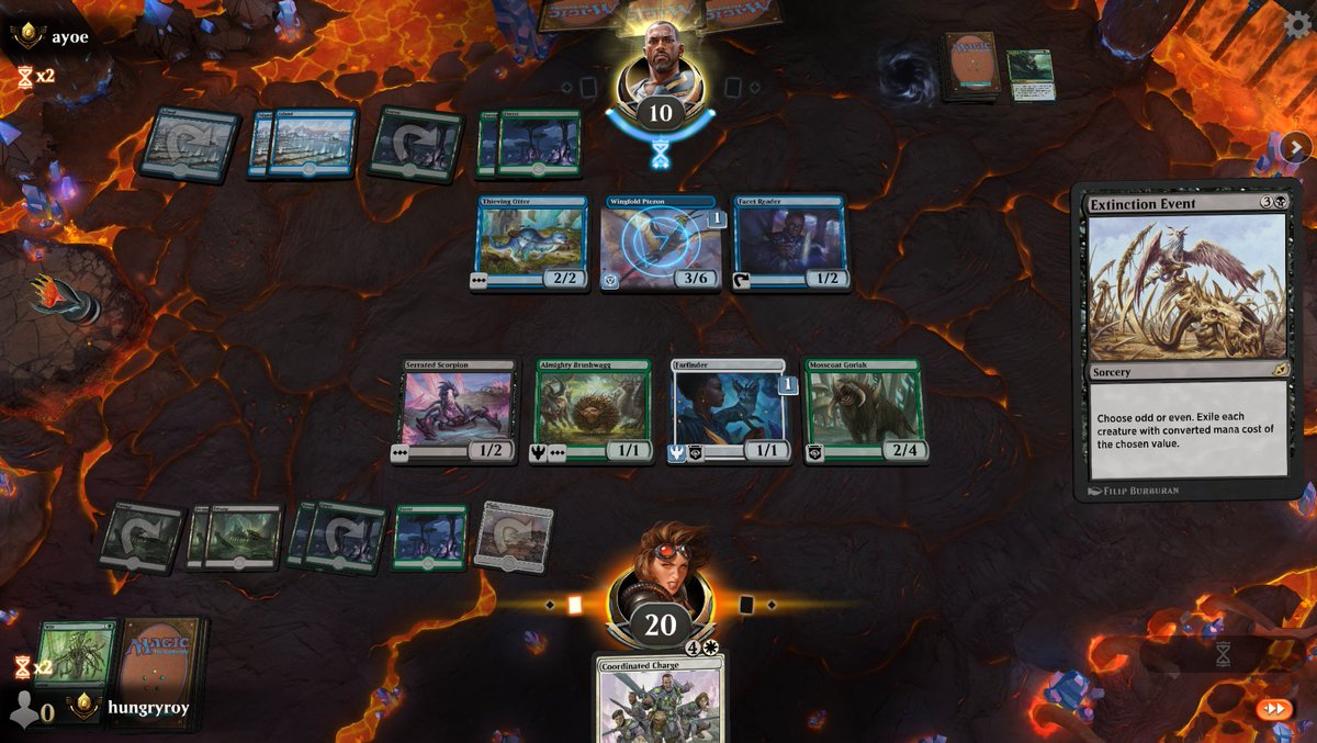 #mtgiko quick draft: while this Extinction Event was on the stack, I can see my opponent's cursor mouse over each of his creatures in turn, realizing 2 out of 3 were even, then over mine one at a time, realizing they were all odd. Lol. #mtg That was my 2nd quick draft. I haven't been streaming them because I don't plan to do a lot, but this one went surprisingly well, so documentation: And yes, that was a P1P1 rare-drafted Eerie Ultimatum lol. I think it won me like 6/7 games