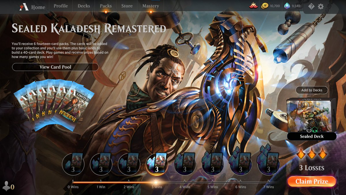 Decided to try a Kaladesh Remastered sealed before diving into draft. Didn't do particularly well, but at least I got a feel of what the Kaladesh limited format is like (again) #mtg #magicarena #mtgkld