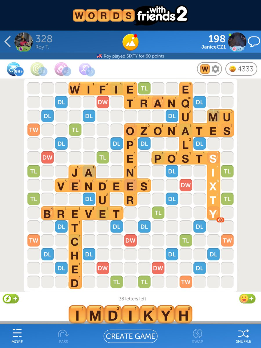 This has to be one of my most satisfying Words with Friends plays